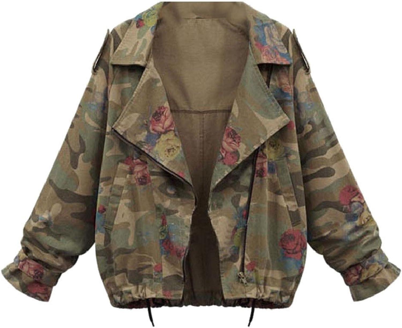 ColourfulWomen Colourful Womens Oversized Golilla Camo Bat Sleeve Loose Jacket Overcoat