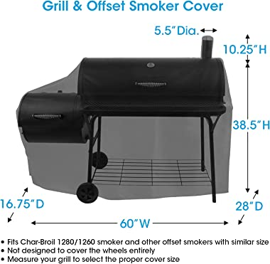 Unicook Offset Smoker Cover, 60 Inch Outdoor Heavy Duty Waterproof Charcoal Grill Cover, Fade & UV Resistant Smokestack B