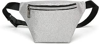 Fashion Women Waist Fanny Pack PU Leather Sequins Belt Bag Luxury Chest Pouch Travel Hip Bum Bag Lady Small Purse