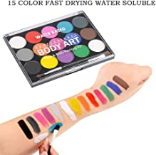 WOWOSS Pinturas de Cara para Niños Set de Maquillaje para Fiestas Infantiles Incluye Pinceles para Pintura Facial, Pinturas al Agua (15 Colores)