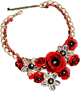 DZT1968 Women Mixed Style Chain Crystal Colorful Flower Luxury Weave Necklace