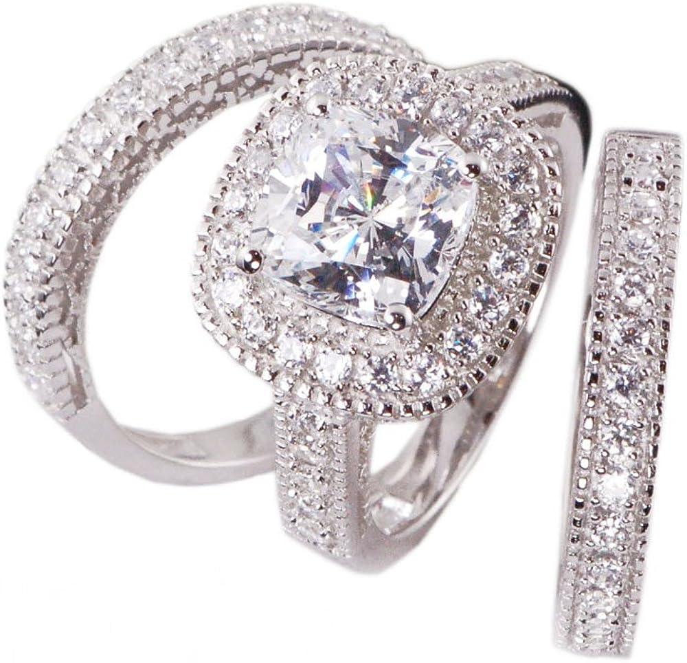 Sunee Very popular Jewelry And Gift 3pc Halo Princess Cushion Cut Superlatite Zirco Cubic