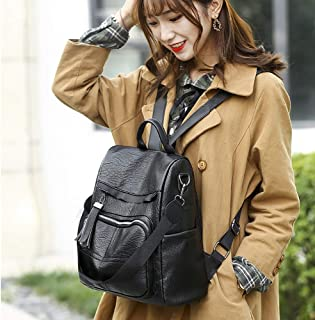 Wultia - Bags for Women Women Backpack Soft Leather Anti-Theft Large Capacity Leisure Travel Bag Bolsa Feminina Black