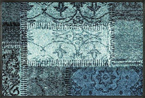 wash+dry Fußmatte, Vintage Patches türkis 50x75 cm, innen und außen, waschbar