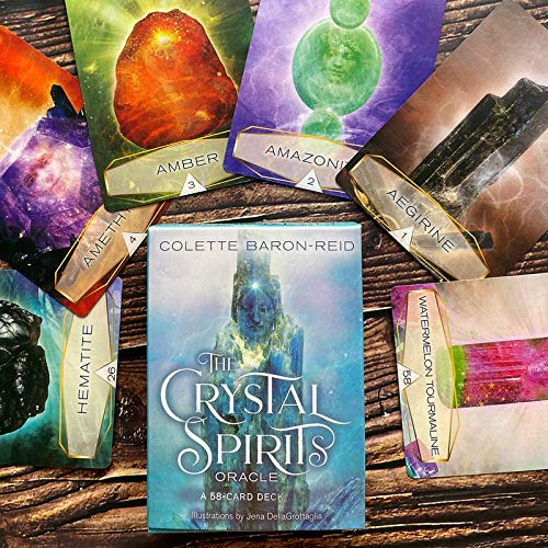 YOYOTECH 2021 New Crystal Spirits Oraclees A 58CARD Deck Y GUÍA Juego Juego DE Juego Colette BARONERID GUÍA DE LA GUÍA DE LA DIVINACIÓN del TAROTE Tarjeta DE LA Familia