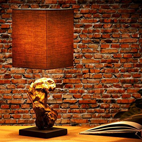 DESIGN DELIGHTS TISCHLEUCHTE CORTEZA | Treibholz mit Leinenschirm, 45 cm | Tischlampe, Nachttischlampe | Farbe: braun