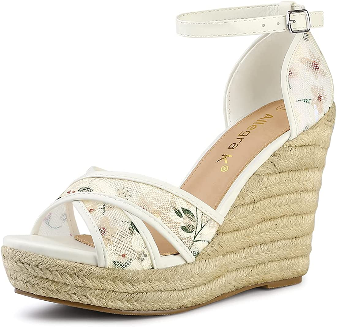 Allegra K Women's Espadrilles Wedges Wedge Sandals Sales Outlet ☆ Free Shipping Lace
