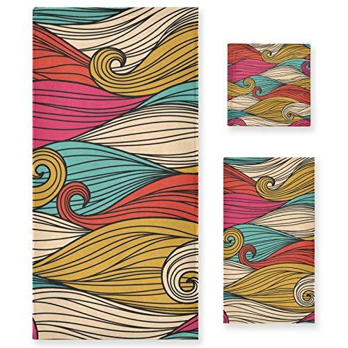 LUPINZ Line Waves Pattern Toallas Toalla de mano Toalla de cara Toalla de baño Tres Piezas Set