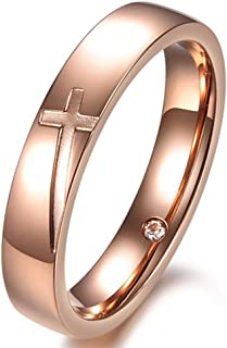 Women 4mm Vintage Stainless Steel Engrave Cross Rose Gold Ring Christian Engagement Wedding Band CZ Inlay
