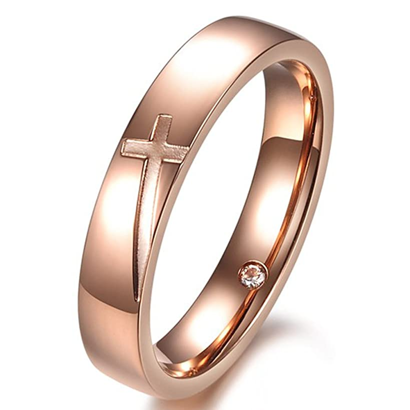 Fashion Month Women 4mm Vintage Stainless Steel Engrave Cross Rose Gold Ring Christian Engagement Wedding Band CZ Inlay