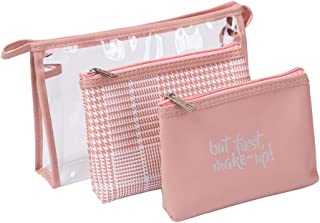 HOYOFO Portable Cosmetic Bags Set of 3 Different Sizes Travel Toiletry Pouch Makeup Purse Bag for Daily Use, Pink