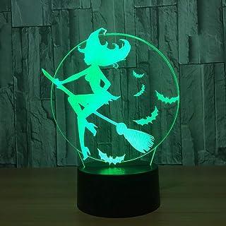 7 Cambio de color Bruja 3D Lámpara de luz nocturna LED Accesorios Interruptor táctil Lámpara de mesa para niños Regalo de Navidad