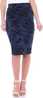 Women's Stretch Pencil Skirt Knee Length High Waist for Work Made in USA