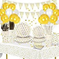 🎁【Décorations de fête tout-en-un】: Le forfait comprend tout ce dont vous avez besoin pour une fête - 16 ballons or / blancs + 1 drapeau triangle étoile blanche +1 ruban blanc + 1 point de colle + 20 assiettes en papier (10 pouces et 7 pouces) + 20 go...