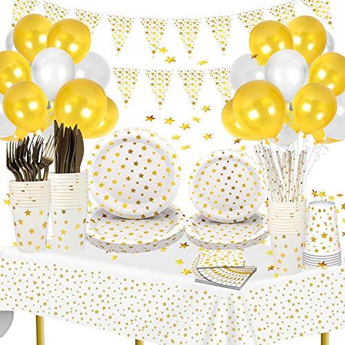 Decoraciones de Fiesta Vajilla Kit,Platos de Papel Blancos y Dorados,Vasos y Pajitas de Papel Servilletas Tenedores y Cuchillos, Mantel y Globos Fiesta Cumpleaños(10 invitados)