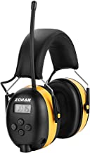 Digital AM/FM Radio Earmuff, ZOHAN Type-A Ear Protection with Stereo Radio, Perfect for Mowing (Yellow)