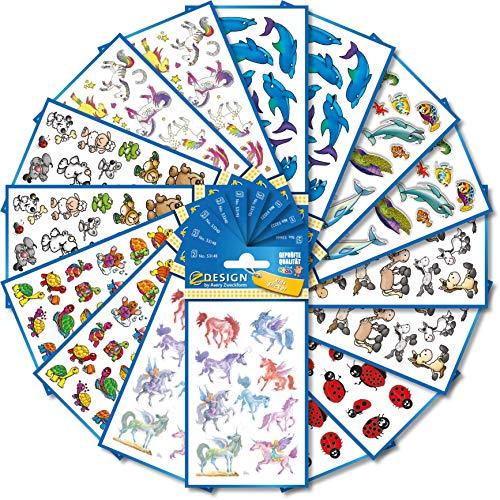 AVERY Zweckform 522 Sticker für Kinder (Aufkleber Kinder, Tiere, Kindersticker, Einhorn, Schildkröten, Marienkäfer, Elefant, Maus, Bär, Giraffe, Pferde, Delfine, Fische, Kindergeburtstag) 59992