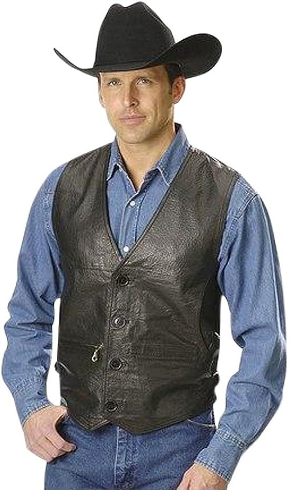 Men's Premium Lambskin Leather Vest with Inside Pockets Black Color