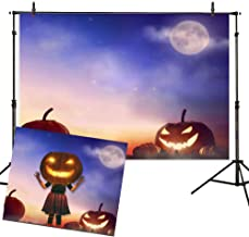 Allenjoy 7x5ft Night Watercolor Pumpkin Halloween Backdrop Photography Background for Child Portrait Photo Props Baby Shower Magic Witch Wizard Sorcerer Ghost Nightmare Themed Party Banner Decors