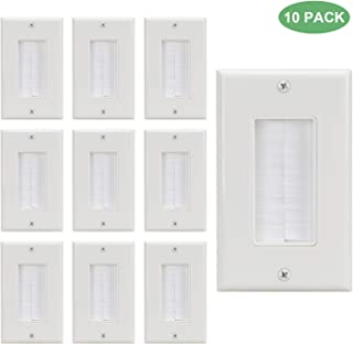 Brush Wall Plate Decora 10Pack,Cover Cable Anti-Dustbrush Style Opening Passthrough in-Wall Installation for Speaker Wires,Coaxial Cables, HDTV HDMI Home Theater Systems