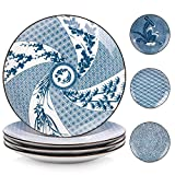 Y YHY Porcelain Dinner Plate Set, 10 Inches Serving Plates, Assorted Patterns, Blue and White, Set...