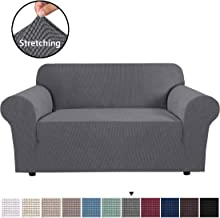 """H.VERSAILTEX Gray Loveseat Cover 1-Piece Spandex Sofa Cover Stretch Furniture Slip Covers for Sofa and Loveseat, Anti-Slip Foams, Machine Washable Loveseat Covers for Living Room 58""""-72"""" Wide"""