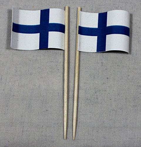 Buddel-Bini Party-Picker Flagge Finnland Papierfähnchen in Spitzenqualität 50 Stück Beutel