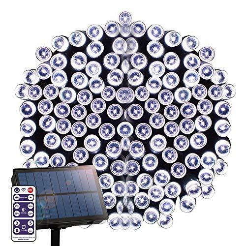 電光ホーム ソーラー LED イルミネーション ストレート [ 8パターン 点灯/リモコン付属 / 50m 500球 ] 屋外 防水 防雨 ガーデン DIY (ホワイト)