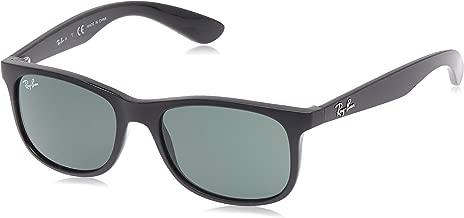 RAY-BAN JUNIOR RJ9062S Rectangular Kids Sunglasses, Matte Black/Dark Green, 48 mm