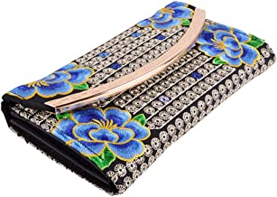 TENDYCOCO Women Vintage Boho Flower Embroidered Clutch Bag Wallet Purse Evening Handbag