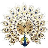 AMYZ Decoración del hogar Pavo Real Reloj de Pared Sala de Estar Reloj Europeo Reloj Creativo Reloj silencioso,Dorado,pequeño