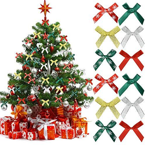 AFASOES 400 Stücke Weihnachten Mini Schleifen Satinschleifen Mini Satinschleifen Bowknot Deko Weihnachtsband Bögen zum Annähen Basteln Mini Satin Schleifen für Weihnachten Geschenkverpackung 4 Farben
