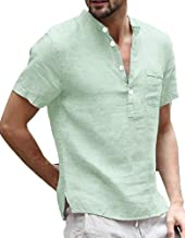 Enjoybuy Mens Short Sleeve Linen Henley Shirts Casual Summer T Shirt Banded Collar Beach Tops