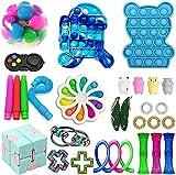 Fidget Toy Set 25 PCS Fidget Pack Fidget Fidget Conjunto con juguete de juguete Mármol Mesh Bubble Pop Bubble Fidget Toy Sensory Toy Estrieza de alivio Juguetes para niños adolescentes (Color: 30