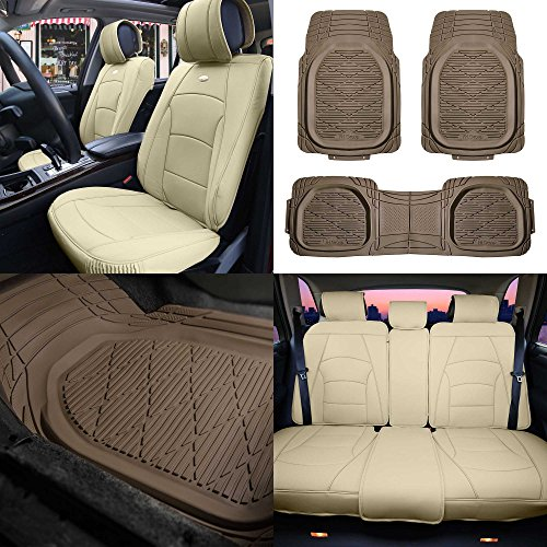 FH Group PU205115 + F11323 Ultra Comfort Highest Grade Faux Leather Seat Cushions (Beige) Full Set – Universal Fit for Cars Trucks & SUVs