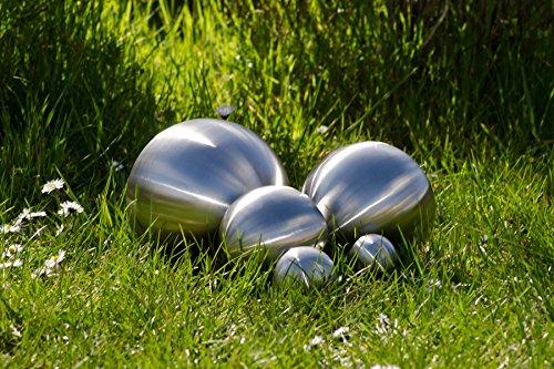 8er Set Köhko Dekokugeln Ø 12cm Ø 9cm Ø 6cm und Ø 4cm Edelstahlkugel Gartenkugeln Teichkugeln - 2