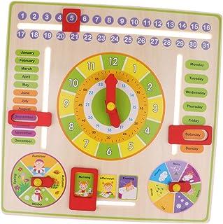 CUTICATE Wooden Teaching Clock Calendar Time Board Seasons Weather Cognitive Toy