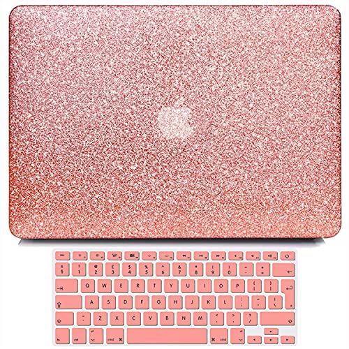 Belk Custodia Compatibile con MacBook Air 13 Pollici 2017-2010 No Retina Display No Touch ID A1466 A1369 Case, Sottile Liscio Plastica Rigida Cover con Copertura della Tastiera, Luccichio Oro Rosa
