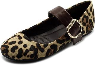 حذاء نسائي من Ollio مصنوع من الجلد الصناعي المدبوغ Mary Jane بحزام سهل الارتداء مريح خفيف الوزن