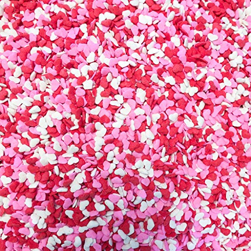 Valentine Red, White & Pink Heart Shapes Edible Sprinkles for Cakes, Cupcakes/Food Decorations 6 oz