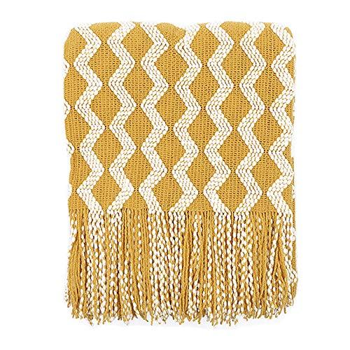 FHKBB Blanket Plaid Boho Cotton Tassel Cosy Blanket Couch Blanket Sofa Blanket Sleeping Blanket Picnic Blanket Bedspread 120 x 200 cm (Turmeric)
