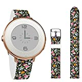 Jolook Women's Men's 14mm Quick-Release Leather Bands Strap Smartwatch Compatible with Pebble Round 14mm/Cameron Hybrid Smartwatch/Jacqueline Hybrid - Baby Cute Flowers