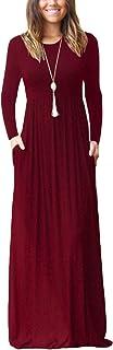 DEARCASE Women Long Sleeve Loose Plain Maxi Pockets Dresses Casual Long Dresses