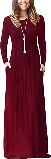 Women Long Sleeve Loose Plain Maxi Pockets Dresses Casual Long Dresses