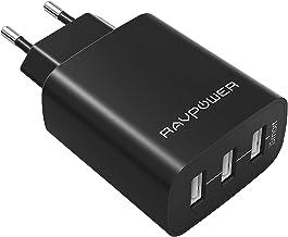 RAVPower Caricatore USB da Muro a 3 Porte (30W, 5V/6A), con Output Massima fino a 2.4A, Compatto per iPhone XS XR X 8 7Plus, iPad, Galaxy S9 S8 Note 8 e Altri Dispositivi USB (Nero)