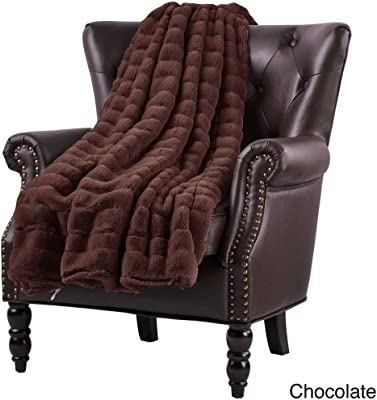 1 Pc Luxurious Casual Dark Brown 50x60 Throw Blanket Modern Style Gorgeous Solid Color Stripe Pattern Super Mink Blanket All-Season Contemporary Faux Fur Warm Soft Blanket Animal-Friendly