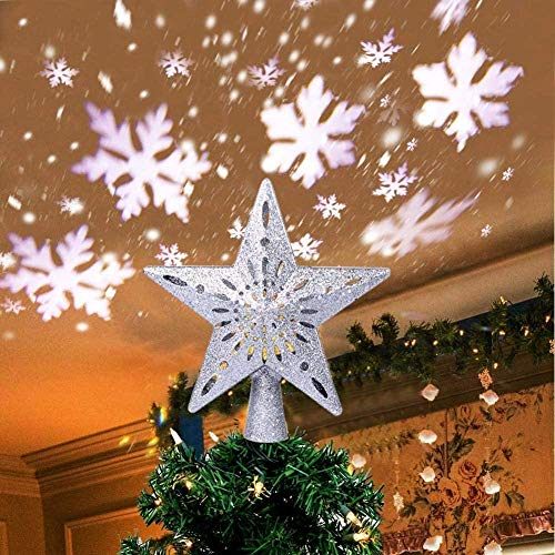 Christmas Tree Topper Lighted Star Tree Toppers with LED Rotating Snowflake Projector Lights, 3D Hollow Silver Star Snow Tree Topper for Christmas Tree Decorations Silver