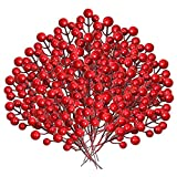 Artificial red berry branch leagth is 8.1 inch/20.5 cm,each berry has a diameter of about 0.6 inch/1.5 cm. Our Christmas red berry package includes 30 pack artificial red berry stems with 14 Red Artificial Berries on each stem. These red berries are ...
