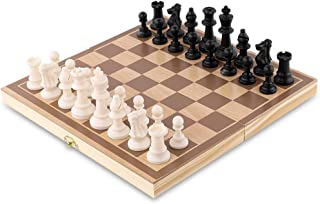 HAS Travel Chess Set for Kids Adults Wooden Checkers Board Game with ABS Pieces and Chessmen Storage Bag - Great Travel Chess Set Strategy Game