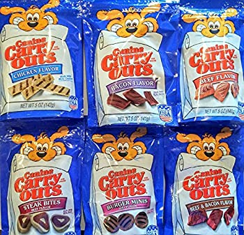 Canine Carry Outs Dog Snacks Variety Combo Bundle Six 5 oz bags One bag of each Flavor.